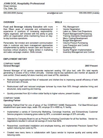 Resume Sample Restaurant Manager After