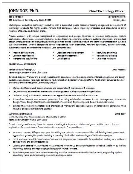 Resume Resume Example Publications examples rescueresumes professional resume writing services cto sample page 1