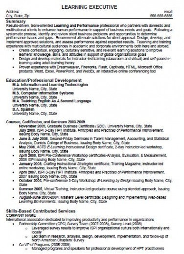 Learning Executive Resume Sample Before